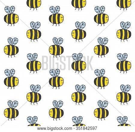 Vector Seamless Pattern Of Hand Drawn Doodle Sketch Colored Bumblebee Bee Isolated On White Backgrou