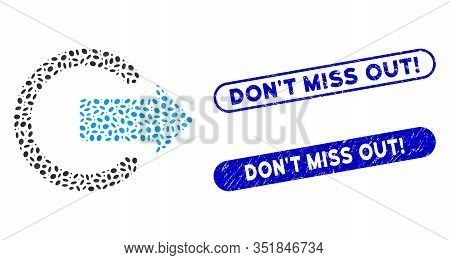 Mosaic Logout And Rubber Stamp Seals With Don T Miss Out Exclamation Text. Mosaic Vector Logout Is D