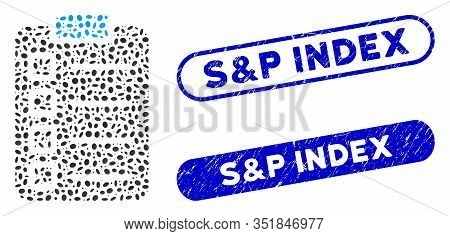 Mosaic Test Tasks And Grunge Stamp Seals With S And P Index Text. Mosaic Vector Test Tasks Is Design