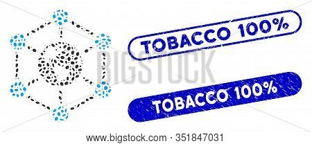 Mosaic Worldwide Internet And Rubber Stamp Watermarks With Tobacco 100 Percent Phrase. Mosaic Vector