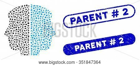Mosaic Dual Face And Corroded Stamp Seals With Parent Hashtag 2 Phrase. Mosaic Vector Dual Face Is F