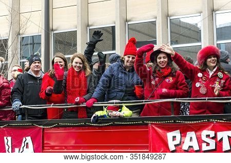 St. Paul, Mn/usa - January 25, 2020: Past Princesses Of The South Wind And Others Wave To Crowd From