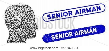 Collage Conservator Head And Distressed Stamp Seals With Senior Airman Caption. Mosaic Vector Conser