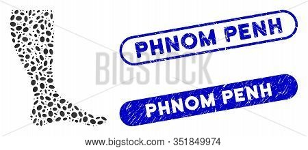 Mosaic Deep Vein Thrombosis And Corroded Stamp Watermarks With Phnom Penh Caption. Mosaic Vector Dee