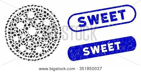 Mosaic Entire Pizza And Grunge Stamp Seals With Sweet Phrase. Mosaic Vector Entire Pizza Is Designed