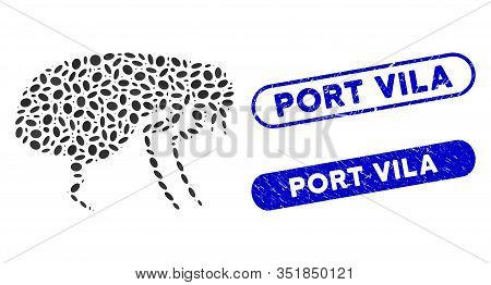 Mosaic Flea And Distressed Stamp Seals With Port Vila Text. Mosaic Vector Flea Is Designed With Scat