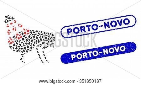 Mosaic Get Rid Of Fleas And Grunge Stamp Seals With Porto-novo Phrase. Mosaic Vector Get Rid Of Flea