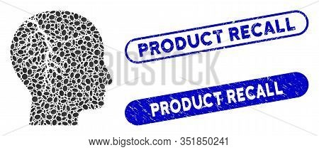 Collage Head Cancer And Distressed Stamp Seals With Product Recall Text. Mosaic Vector Head Cancer I