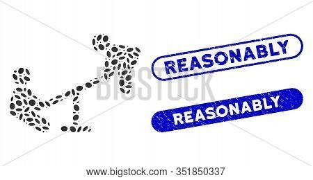 Mosaic Kid Swing And Rubber Stamp Seals With Reasonably Text. Mosaic Vector Kid Swing Is Composed Wi