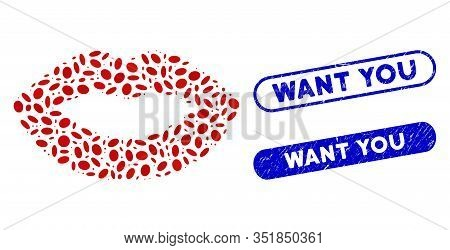 Mosaic Kiss Print And Grunge Stamp Watermarks With Want You Text. Mosaic Vector Kiss Print Is Design