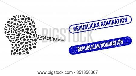 Mosaic Liar And Rubber Stamp Seals With Republican Nomination Text. Mosaic Vector Liar Is Designed W