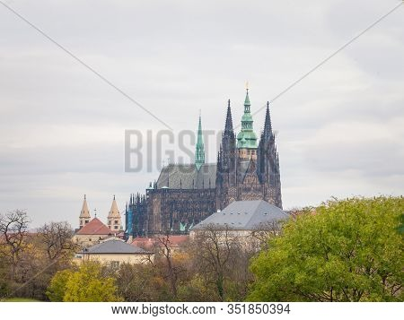 St Vitus Cathedral On Hradcany Hill, In The Prague Castle, Also Called Metropolitni Katedrala Svateh