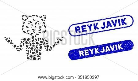 Mosaic Masquerade And Corroded Stamp Watermarks With Reykjavik Caption. Mosaic Vector Masquerade Is