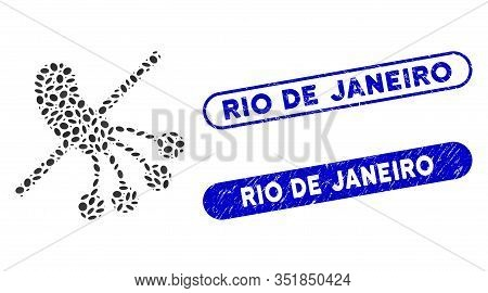 Mosaic No Bacteria And Rubber Stamp Seals With Rio De Janeiro Phrase. Mosaic Vector No Bacteria Is D