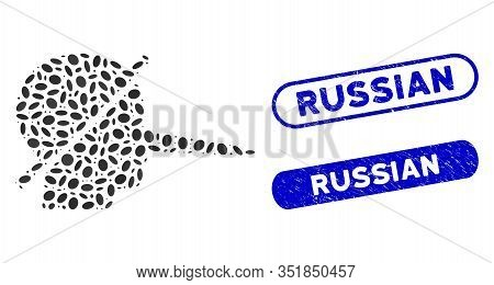 Mosaic No Liars And Rubber Stamp Watermarks With Russian Phrase. Mosaic Vector No Liars Is Composed