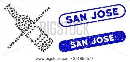 Mosaic No Vodka Drinking And Rubber Stamp Seals With San Jose Phrase. Mosaic Vector No Vodka Drinkin
