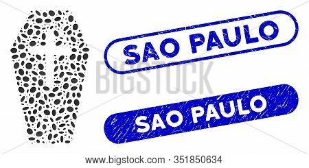 Mosaic Old Coffin And Grunge Stamp Seals With Sao Paulo Phrase. Mosaic Vector Old Coffin Is Formed W