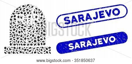 Collage Old Grave And Grunge Stamp Seals With Sarajevo Caption. Mosaic Vector Old Grave Is Created W