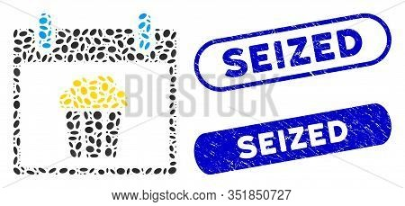 Mosaic Popcorn Calendar Day And Rubber Stamp Seals With Seized Text. Mosaic Vector Popcorn Calendar