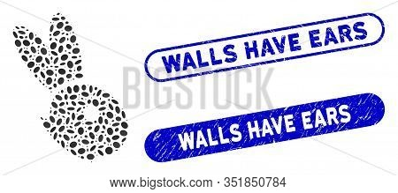 Mosaic Rabbit Head And Distressed Stamp Watermarks With Walls Have Ears Caption. Mosaic Vector Rabbi