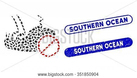 Mosaic Stop Flea And Grunge Stamp Seals With Southern Ocean Phrase. Mosaic Vector Stop Flea Is Desig