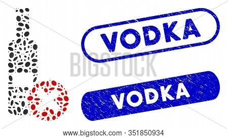Mosaic Stop Vodka Drinking And Grunge Stamp Seals With Vodka Caption. Mosaic Vector Stop Vodka Drink
