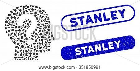 Mosaic Unknown And Rubber Stamp Watermarks With Stanley Text. Mosaic Vector Unknown Is Created With