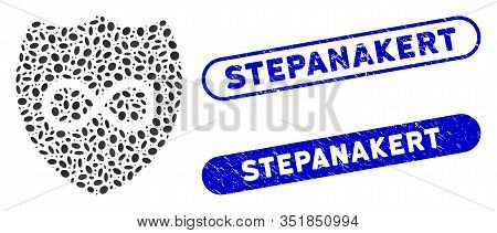 Mosaic Unlimited Shield And Distressed Stamp Seals With Stepanakert Caption. Mosaic Vector Unlimited