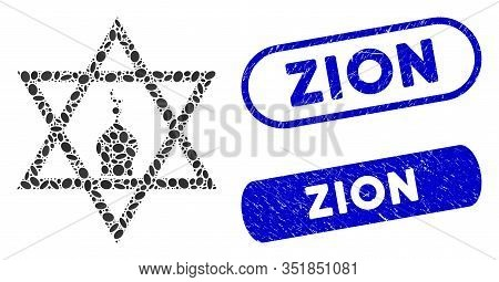 Mosaic Zion And Grunge Stamp Seals With Zion Caption. Mosaic Vector Zion Is Created With Scattered E