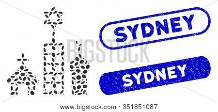 Mosaic Zion City And Corroded Stamp Seals With Sydney Caption. Mosaic Vector Zion City Is Composed W