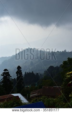 View From Mountains To The Valley Covered With Foggy. Foggy Landscape. Darjeeling Valley , Takdah, D