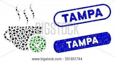 Mosaic Best Coffee And Grunge Stamp Seals With Tampa Phrase. Mosaic Vector Best Coffee Is Formed Wit