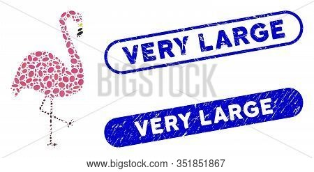 Mosaic Flamingo Bird And Grunge Stamp Watermarks With Very Large Text. Mosaic Vector Flamingo Bird I
