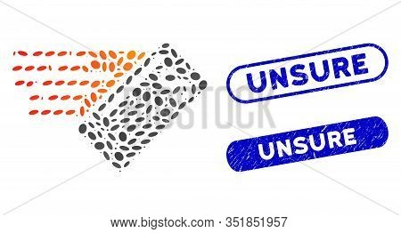 Collage Express Cheque And Distressed Stamp Seals With Unsure Text. Mosaic Vector Express Cheque Is