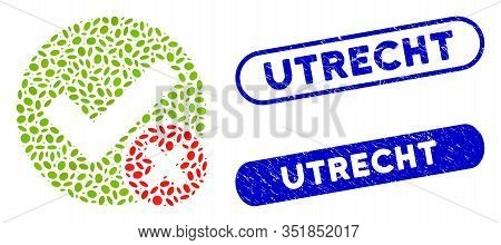 Mosaic False Positive And Distressed Stamp Watermarks With Utrecht Text. Mosaic Vector False Positiv