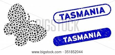 Mosaic Butterfly And Corroded Stamp Seals With Tasmania Text. Mosaic Vector Butterfly Is Composed Wi