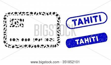 Mosaic Banking Card And Grunge Stamp Watermarks With Tahiti Text. Mosaic Vector Banking Card Is Desi