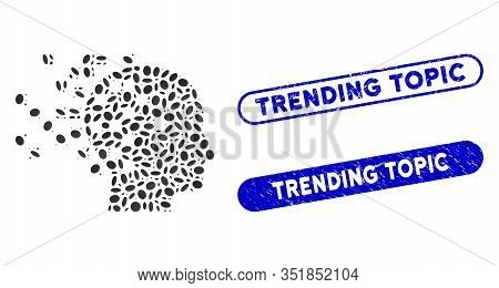 Mosaic Digital Mind And Distressed Stamp Seals With Trending Topic Caption. Mosaic Vector Digital Mi