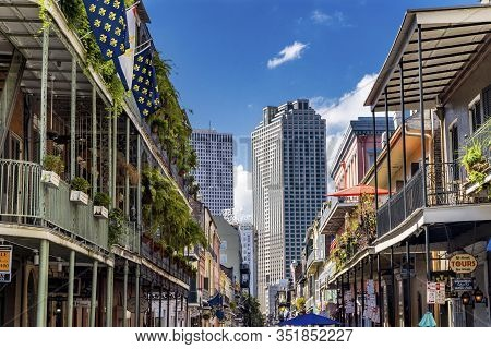 New Orleans, Louisiana, United States - October 6,2019 High Buildings Downtown Old Colonial Building
