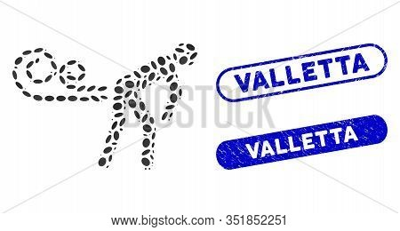 Mosaic Farting Wind And Rubber Stamp Seals With Valletta Text. Mosaic Vector Farting Wind Is Created
