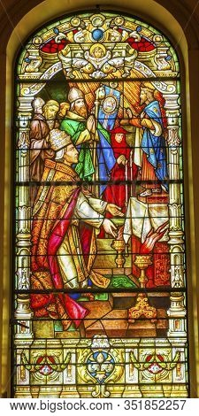 New Orleans, Louisiana, United States - October 6,2019 Pope Reverence Stained Glass Saint Louis Basi