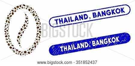 Mosaic Coffee Bean And Distressed Stamp Seals With Thailand, Bangkok Caption. Mosaic Vector Coffee B