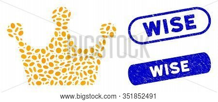Mosaic Gold Crown And Distressed Stamp Watermarks With Wise Caption. Mosaic Vector Gold Crown Is Com