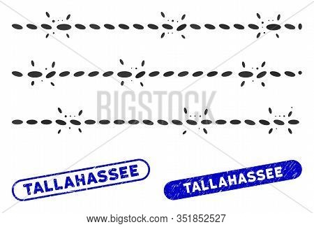 Mosaic Barbwire Fence And Corroded Stamp Seals With Tallahassee Phrase. Mosaic Vector Barbwire Fence