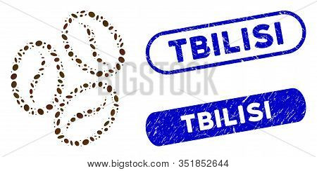 Mosaic Cacao Beans And Grunge Stamp Seals With Tbilisi Phrase. Mosaic Vector Cacao Beans Is Composed