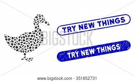 Mosaic Duck And Corroded Stamp Seals With Try New Things Caption. Mosaic Vector Duck Is Created With