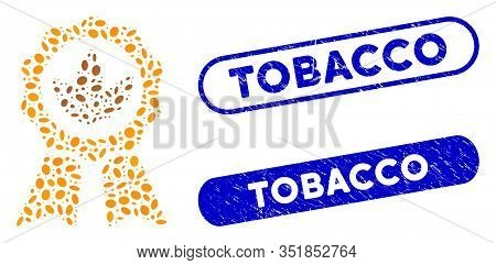 Mosaic Superior Tobacco And Distressed Stamp Seals With Tobacco Text. Mosaic Vector Superior Tobacco