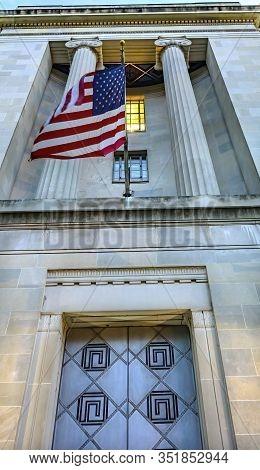 Entrance Metal Door Flag Robert F Kennedy Justice Department Building Pennsylvania Avenue Washington