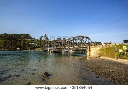 Narooma, Australia - December 19, 2019: View From The South East Of The Road Bridge Over The Wagonga