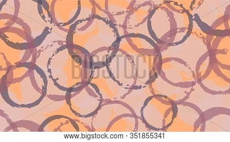 Unique Watercolor Circles Geometry Fabric Print. Circular Splotch Overlapping Elements Vector Seamle